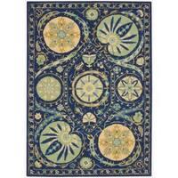 Hand-tufted Suzani Blue Floral Medallion Rug - 5'3 x 7'5