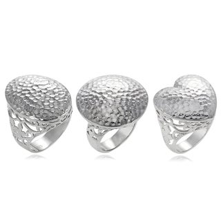 Journee Collection Sterling Silver Hammered Shape Ring