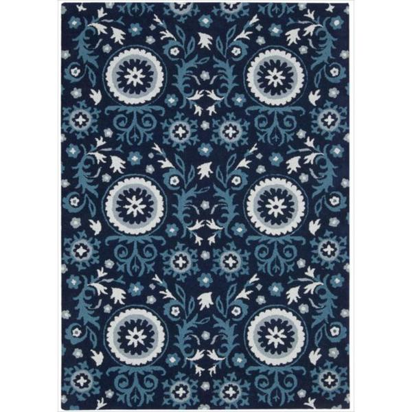 Hand Tufted Suzani Navy Floral Medallion Rug 8 X 10 6