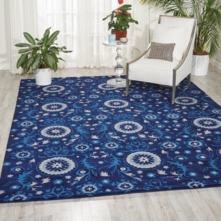 Hand-tufted Suzani Navy Floral Medallion Rug (8' x 10'6)
