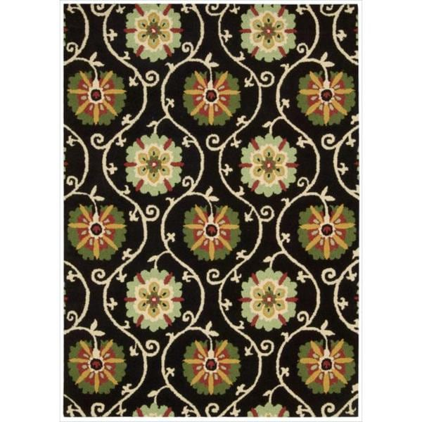 Hand-tufted Suzani Black Floral Medallion Rug - 8' x 10'6