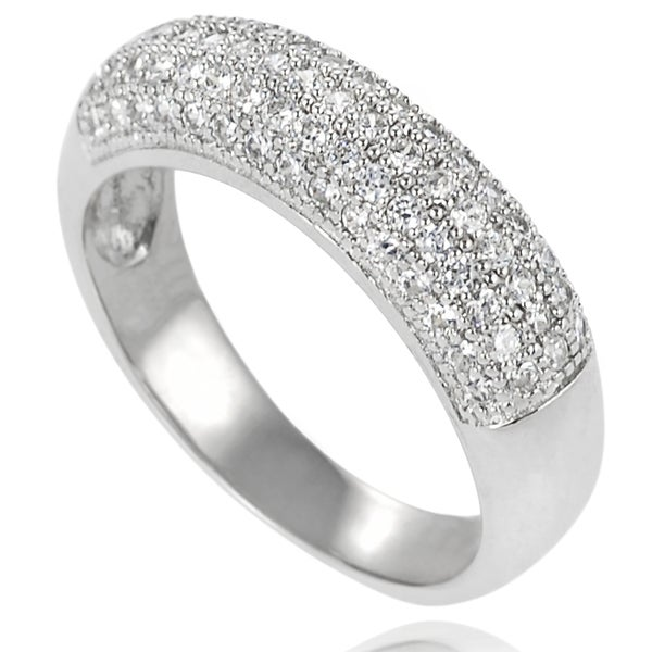 Journee Collection Sterling Silver Cubic Zirconia Bridal-style Band