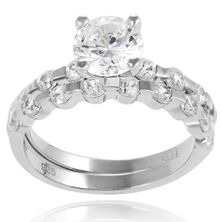 Journee Collection Sterling Silver Round-cut Prong-set Bridal-style Ring Set