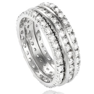 Journee Collection Sterling Silver Round-cut Cubic Zirconia 3-piece Eternity Band Set