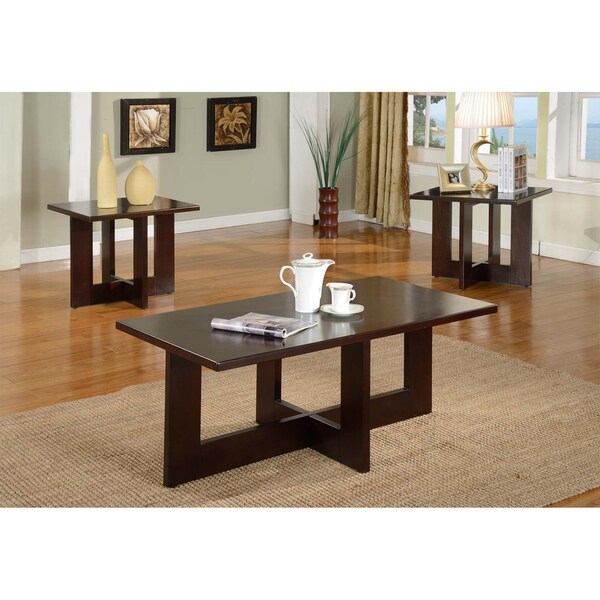 Shop Solid Wood Rectangle Coffee Table Set