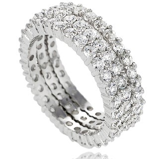 Journee Collection Sterling Silver Cubic Zirconia 3-piece Eternity Band Set