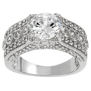 Journee Collection Sterling Silver Round Cubic Zirconia Bridal-style Ring (2 options available)
