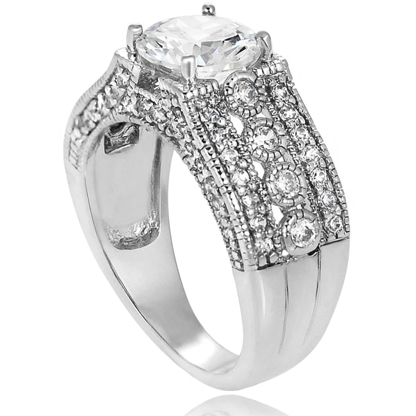Journee Collection Sterling Silver Round Cubic Zirconia Bridal-style Ring