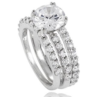 Journee Collection Sterling Silver Round-cut Cubic Zirconia 3-piece Bridal-style Ring Set