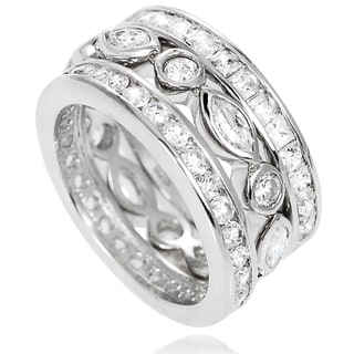 Sterling Silver Cubic Zirconia 3-piece Wedding Ring Set