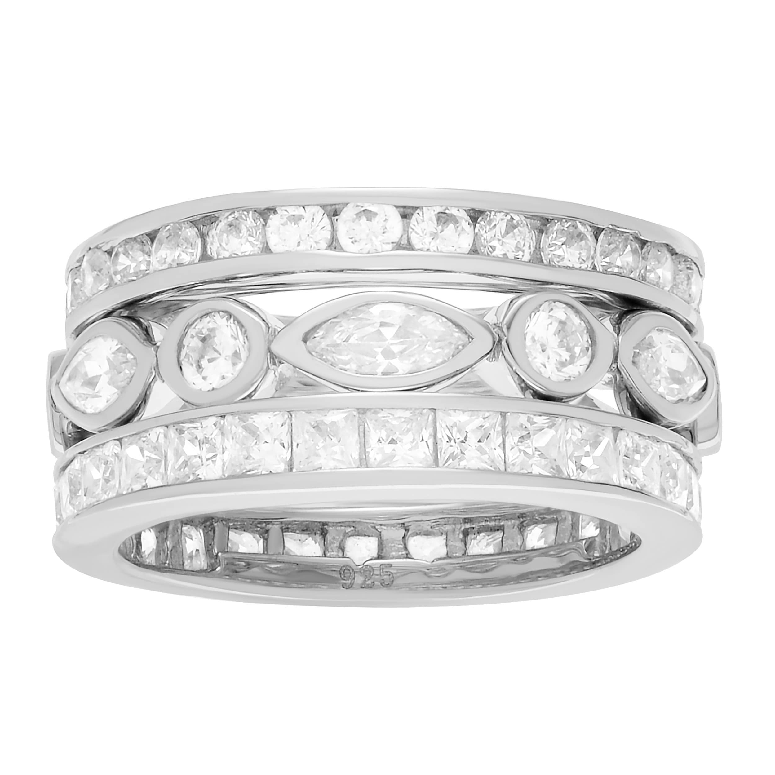 Journee collection Sterling Silver Cubic Zirconia 3-piece...