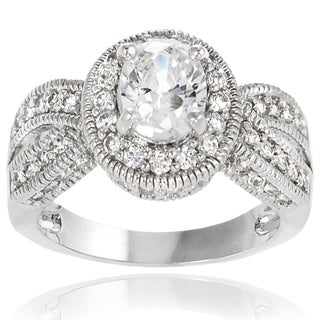 Journee Collection Sterling Silver Round/ Oval-cut Cubic Zirconia Bridal-style Ring