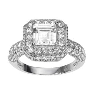 Journee Collection Sterling Silver Square/ Round-cut Cubic Zirconia Bridal-style Ring