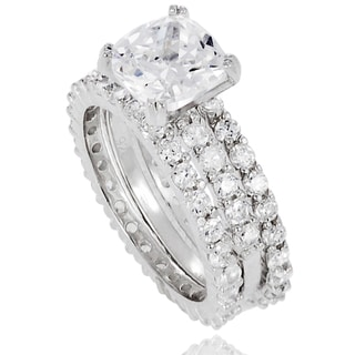 Journee Collection Sterling Silver Cubic Zirconia Bridal-style 3-piece Ring Set