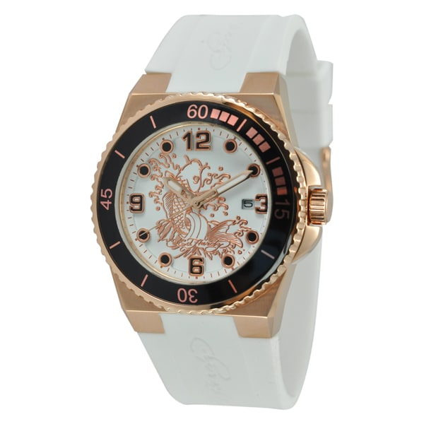 Ed Hardy Women's Gold Steel Dive Immersion Koi Watch