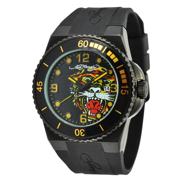 Ed Hardy Men's Black Steel Dive Immersion 'Tiger' Watch