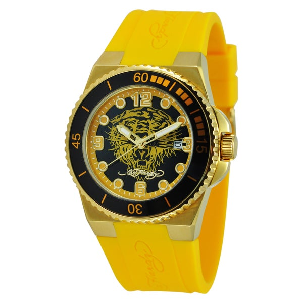Ed Hardy Women's Gold Steel Dive Immersion 'Tiger' Watch