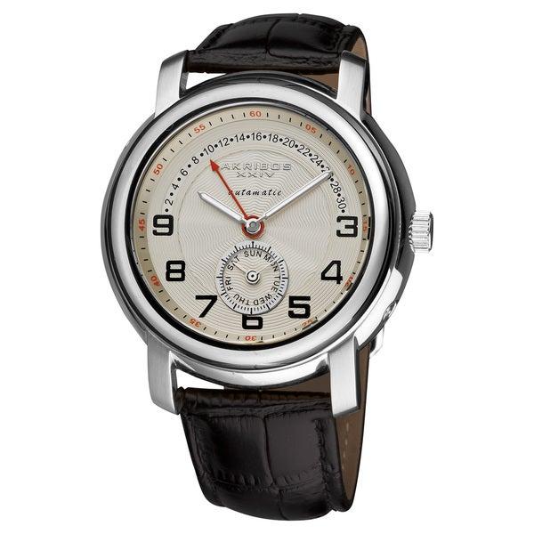 Akribos XXIV Men's Steel Automatic Retrograde Silver-Tone Watch with FREE GIFT