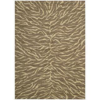 Riviera Chocolate Zebra Print Wool Blend Rug (3'6 x 5'6)
