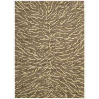 Riviera Chocolate Zebra Print Wool Blend Rug (5'3 x 7'5)