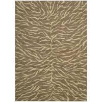 Riviera Chocolate Zebra Print Wool Blend Rug (5'3 x 7'5) - 5'3 x 7'5