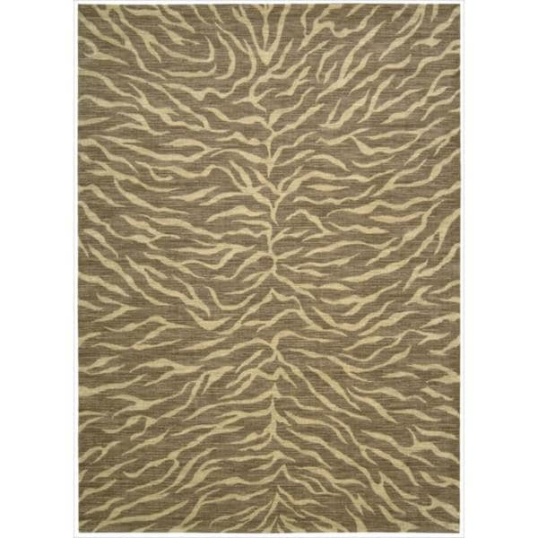 Riviera Chocolate Zebra Print Wool Blend Rug (7'9 x 10'10) - 7'9 x 10'10