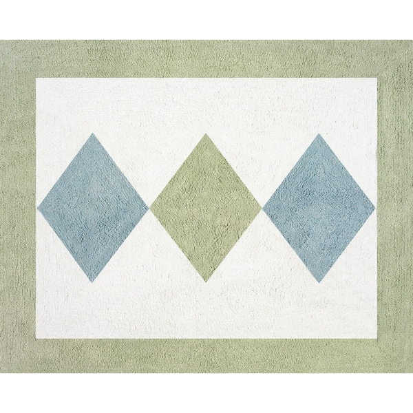 Sweet Jojo Designs Green and Blue Argyle Accent Floor Rug