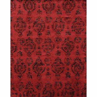 nuLOOM Hand-knotted Ikat Red New Zealand Wool Rug