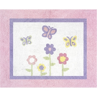 Sweet JoJo Designs Pink and Purple Butterfly Accent Floor Rug