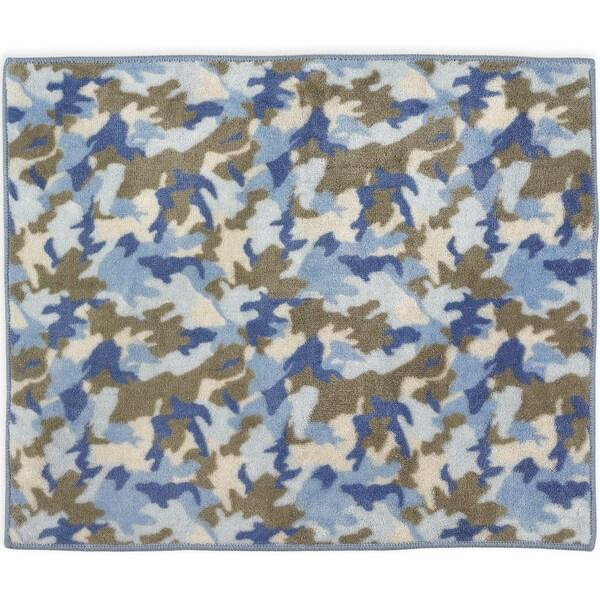 Sweet Jojo Designs Blue And Khaki Camo Accent Floor Rug