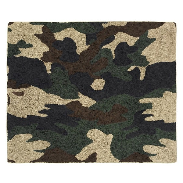 Sweet Jojo Designs Green Camo Military Accent Floor Rug