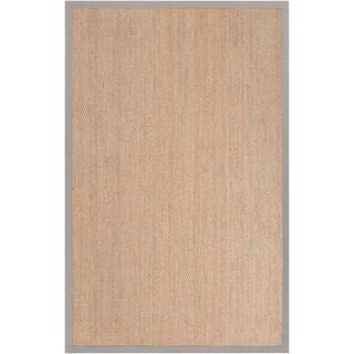 Hand-woven Vicenza Tan Natural Fiber Seagrass Cotton Border Rug (5' x 8')