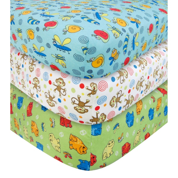 Trend Lab Critters Flannel Fitted Crib Sheet Set (Pack of 3)