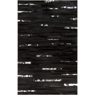 Handcrafted Black Leather Animal Hide Rug (2' x 3')