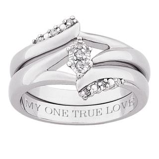 Silver 1/10ct TDW Diamond 'My One True Love' 2-piece Ring Set (J-K, I3)