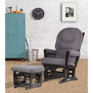 Dutailier Espresso/ Dark Grey Multiposition Reclining Modern Glider and Ottoman Set