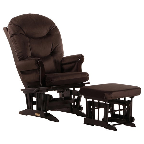 Dutailier Chocolate Multiposition Reclining Sleigh Glider and Nursing Ottoman Set