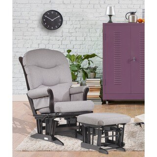 Dutailier Light Grey Multiposition Reclining Sleigh Glider and Nursing Ottoman Set