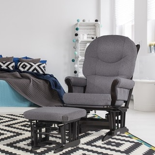 Dutailier Ultramotion Dark Grey Multiposition Reclining Sleigh Glider and Nursing Ottoman Set