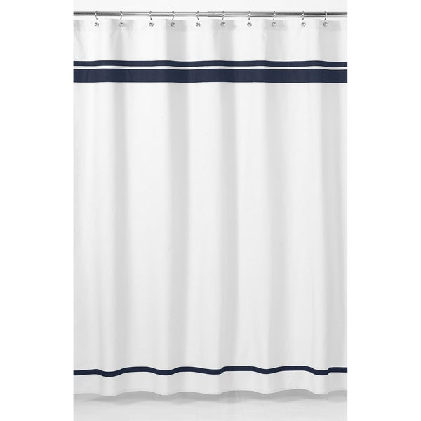 Sweet Jojo Designs White and Navy Hotel Shower Curtain