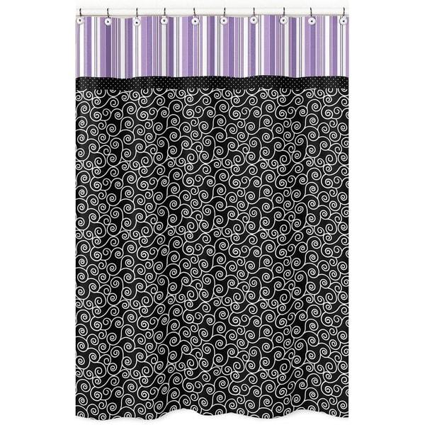 Sweet Jojo Designs Purple and Black Kaylee Shower Curtain