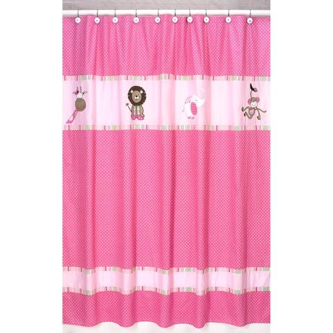 Sweet Jojo Designs Pink and Green Jungle Friends Kids Shower Curtain