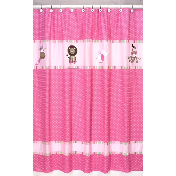 Sweet Jojo Designs Pink and Green Jungle Friends Kids Shower Curtain