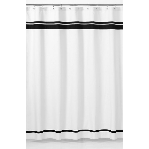 Shop Sweet Jojo Designs White And Black Hotel Shower Curtain Free