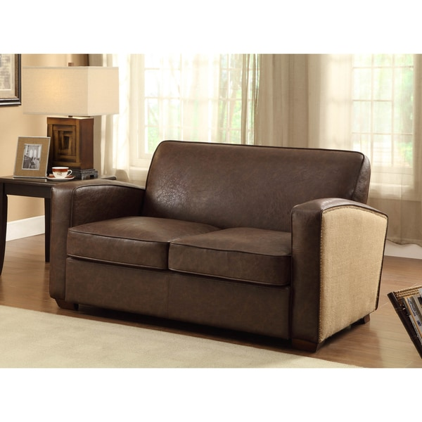 Antique Brown Bonded Leather Loveseat