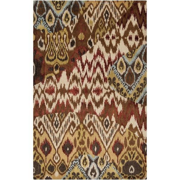 Hand-tufted Viper Dark Gold Ikat Wool Rug (5' x 8')