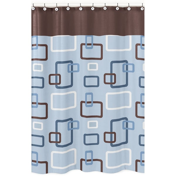 Sweet Jojo Designs Blue and Brown Geo Shower Curtain