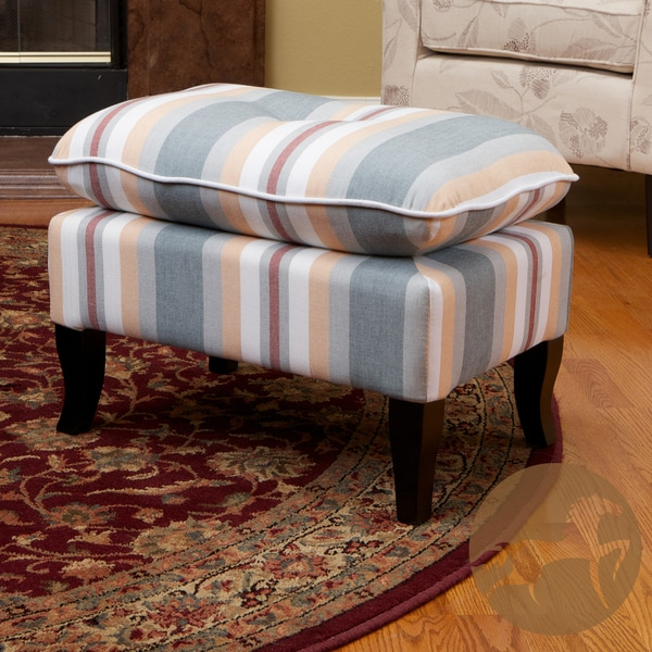Loma Grey and Peach Stripe Fabric Ottoman by Christopher Knight Home