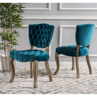 Bates Tufted Dining Chairs (Set of 2) by Christopher Knight Home & Blue Dining Room \u0026 Bar Furniture For Less | Overstock.com
