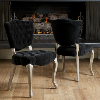 Bates Tufted Black Fabric Dining Chairs (Set of 2) by Christopher Knight Home